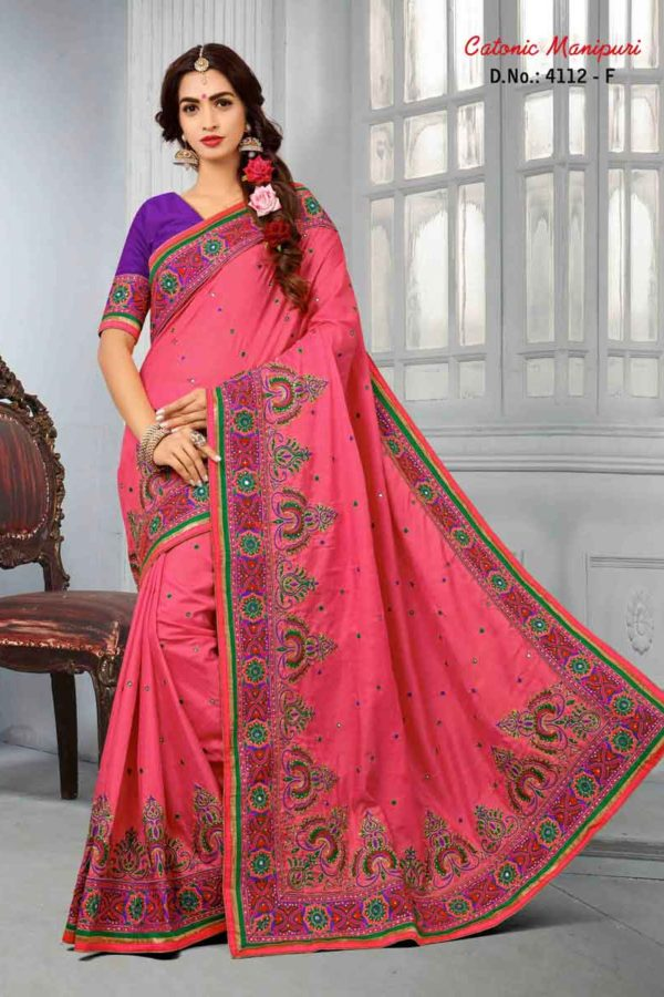 Rani Color Manipuri Silk Resam Work Saree-4112-F