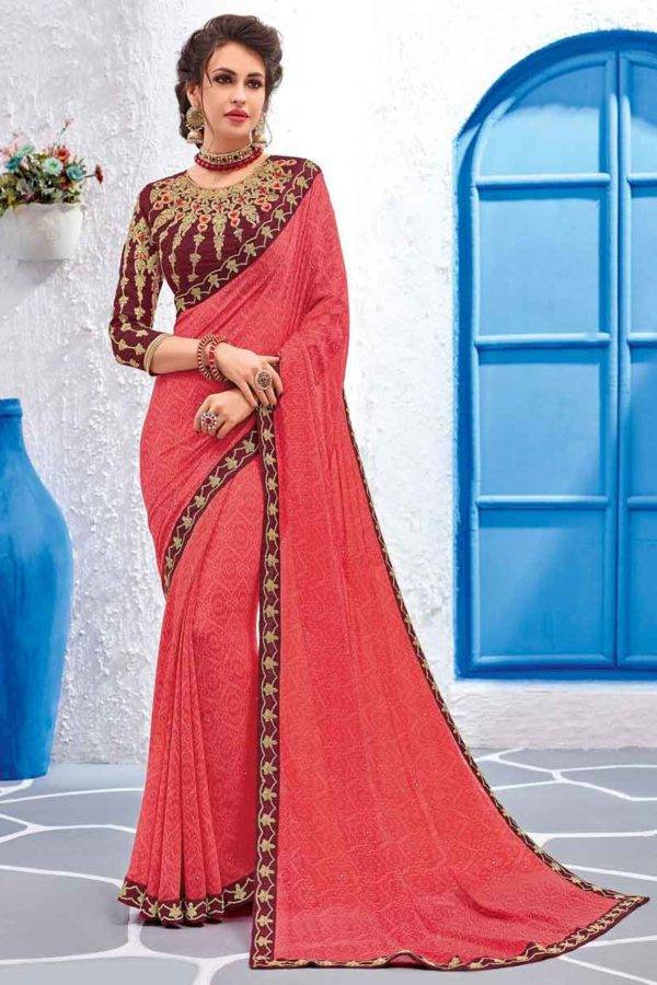Pink Color Georgette Daily Wear Saree-11601