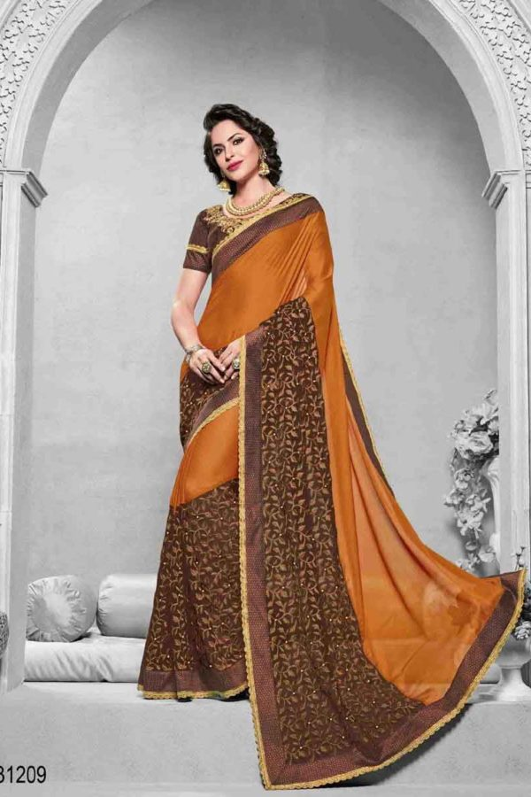Orange And Brown Color Bright Georgette And Net Saree-31209