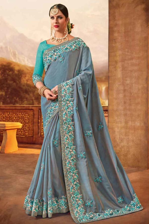 Elegant Grey Color Two Tone Silk Party Wear Saree-10350