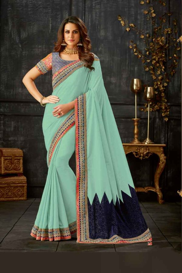 Gorgeous Blue Color Broad Border Silk Party Wear Saree-10512