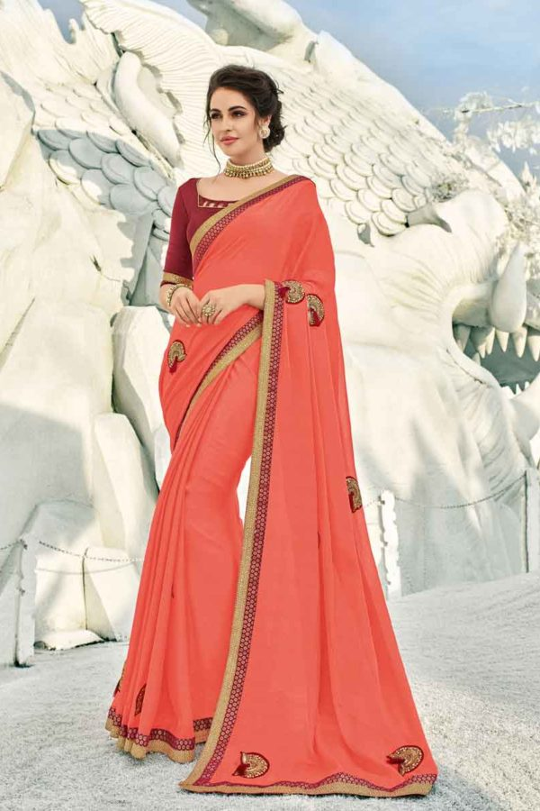 Gorgeous Orange Color Silk Full Style Saree-42011