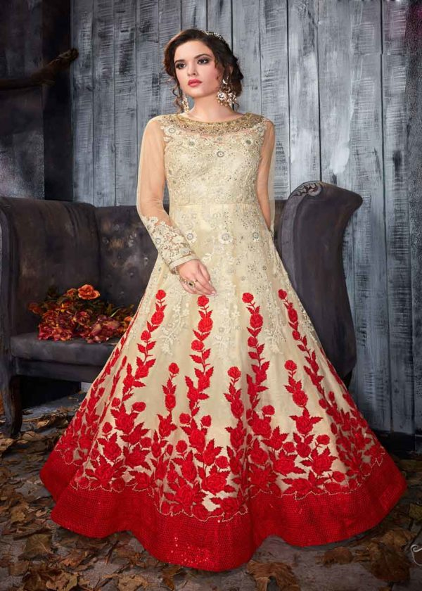 Cream Net Anarkali Gown With Embroidery Work-7001