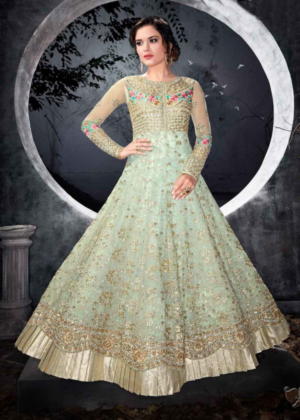 Blue Net Anarkali Gown With Embroidery Work-7002