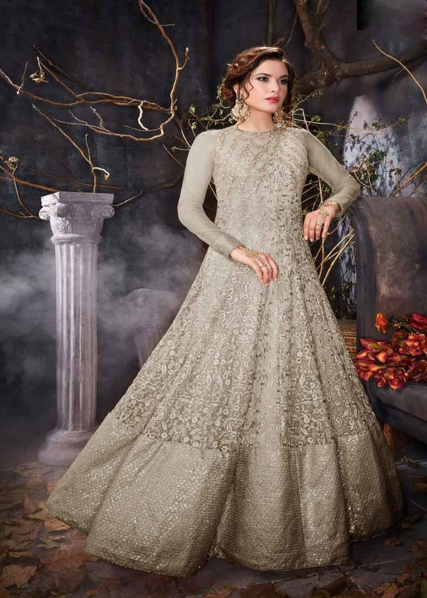Grey Net Anarkali Gown With Embroidery Work-7004