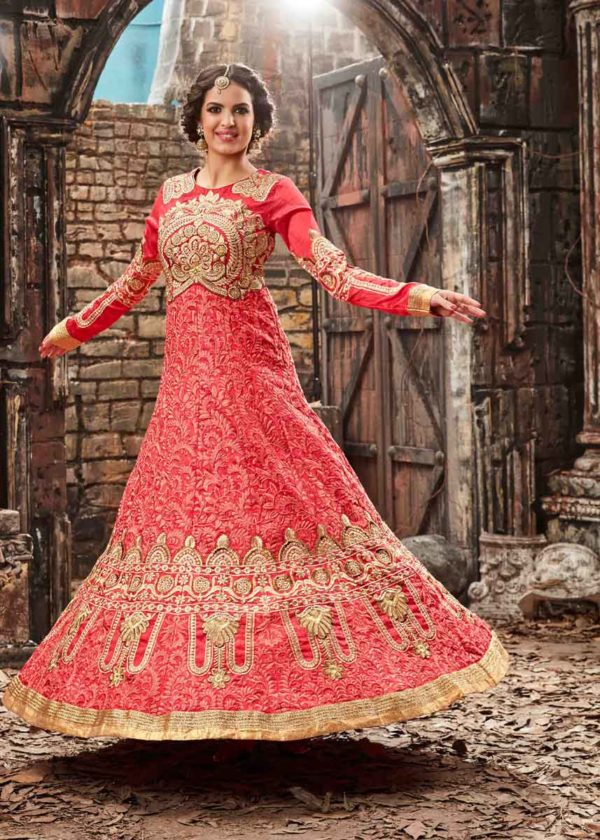 Pink Silk Anarkali Gown With Embroidery Work-3774