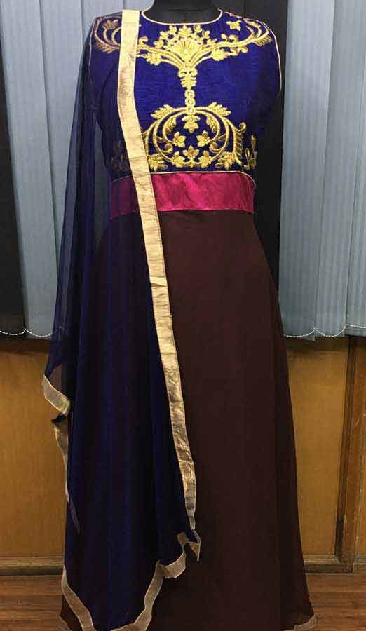 Blue And Brown Color Georgette And Bangalore Stone Work Gown