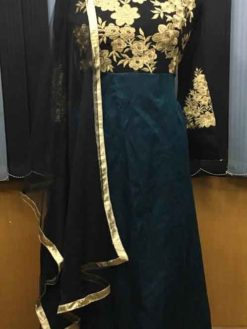 Green And Black Embroidery Georgette And Banglore Floor Length Gown