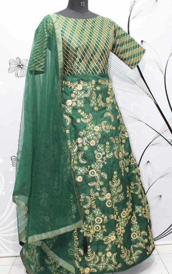 Pine Green Thai Silk Zari Work Wedding Wear Gown