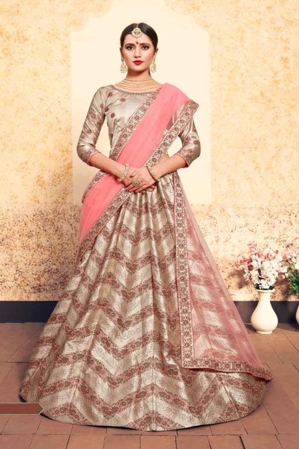 Tortilla Brown Color Lining Design Satin Lehenga Choli