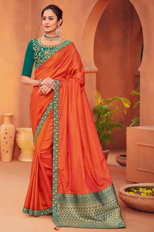 orange bridal silk saree