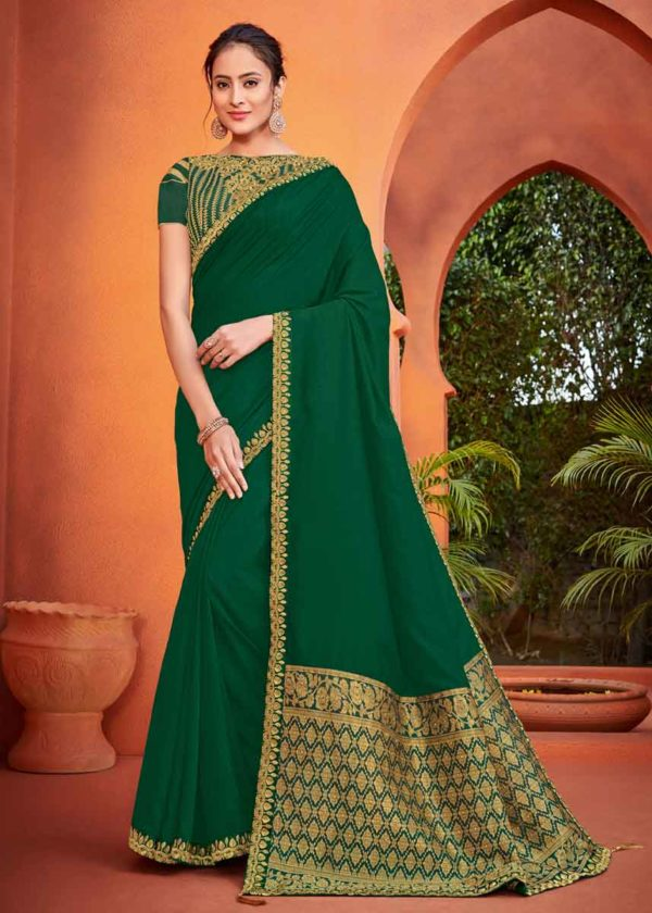 Green Silk Saree With Golden Border