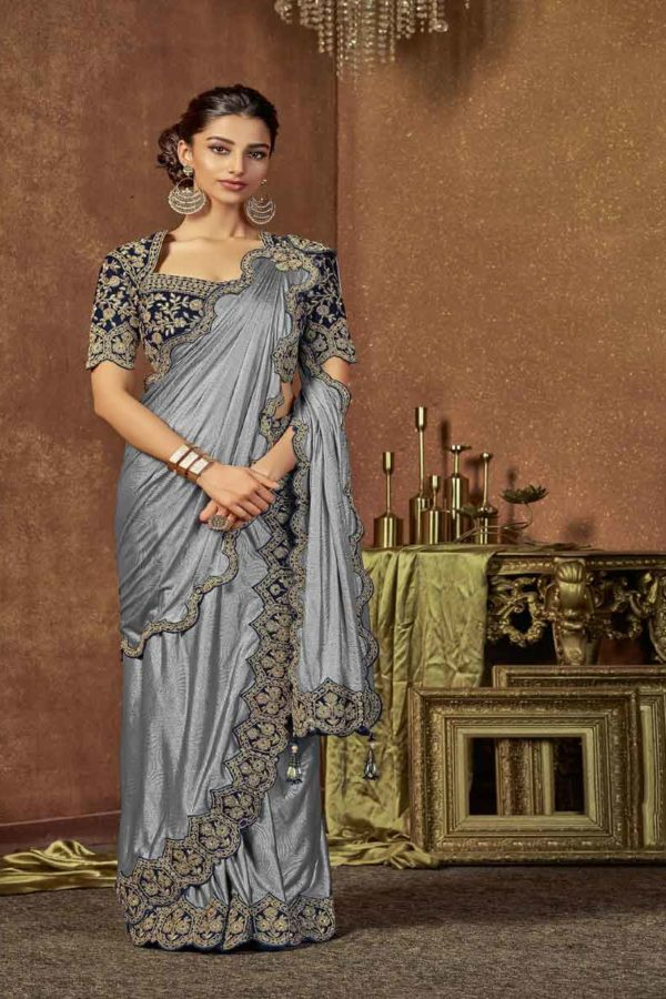 Grey Colour Saree