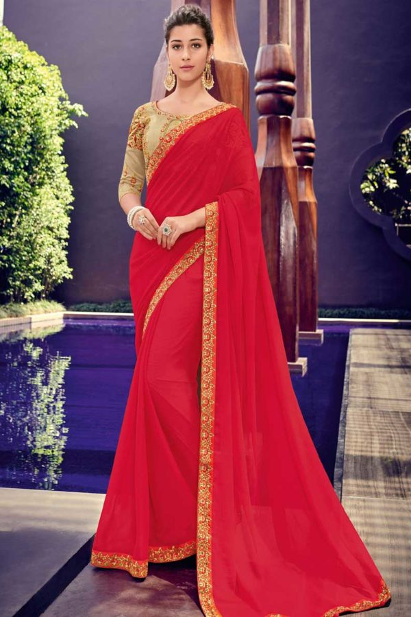 Plain Red Saree