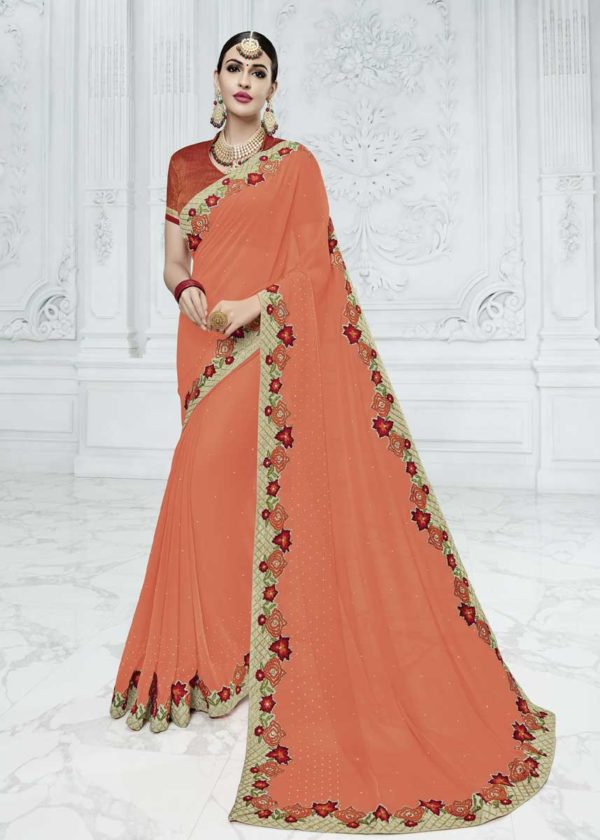 Orange Saree With Contrast Blouse
