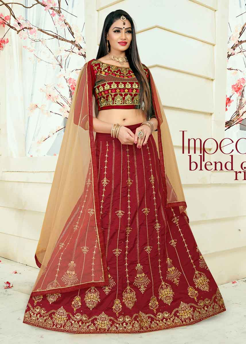 Gorgeous Embroidered Taffeta Silk Wedding Dresses For Girl In India