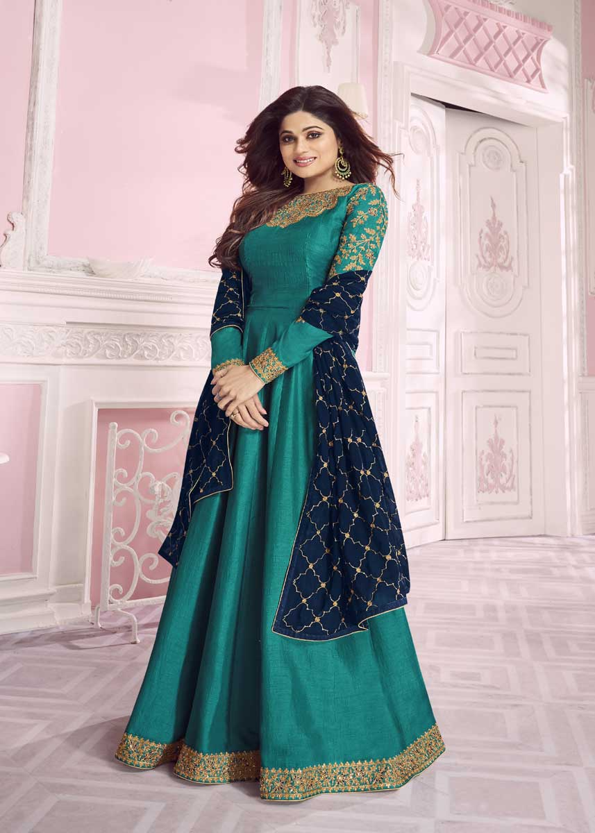 Cyan Color Embroidered Dolla Silk Indian Dresses For Wedding Party