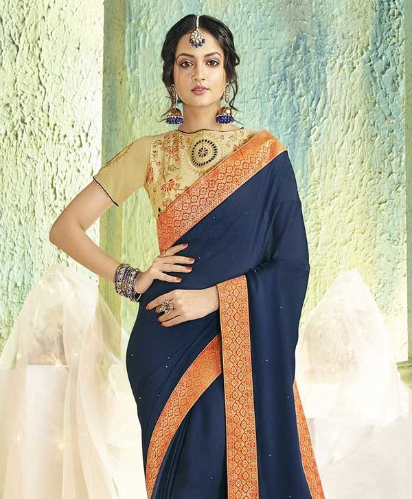 Saree With Heavy Blouse