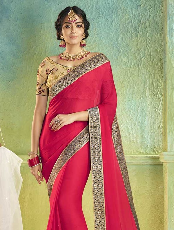 Saree With Designer Blouse Online